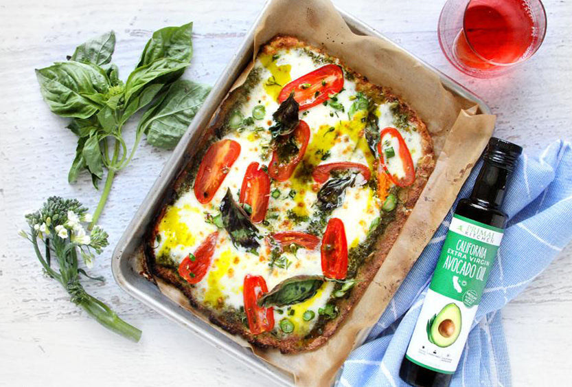 Pesto Keto Cauliflower Pizza