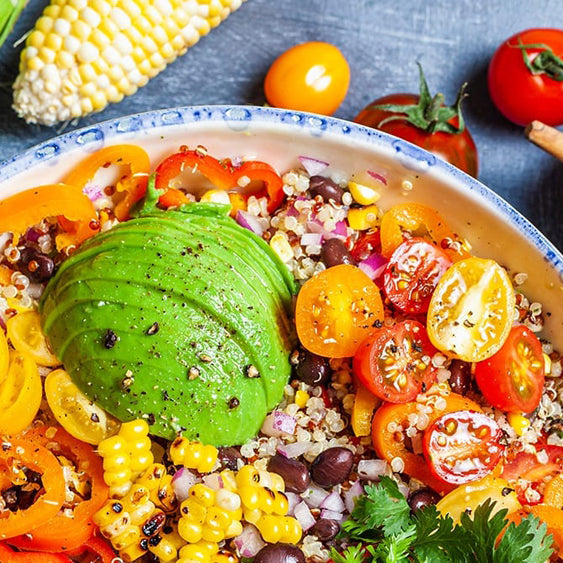 Corn and Quinoa Salad With A Cilantro Jalapeño Lime Dressing
