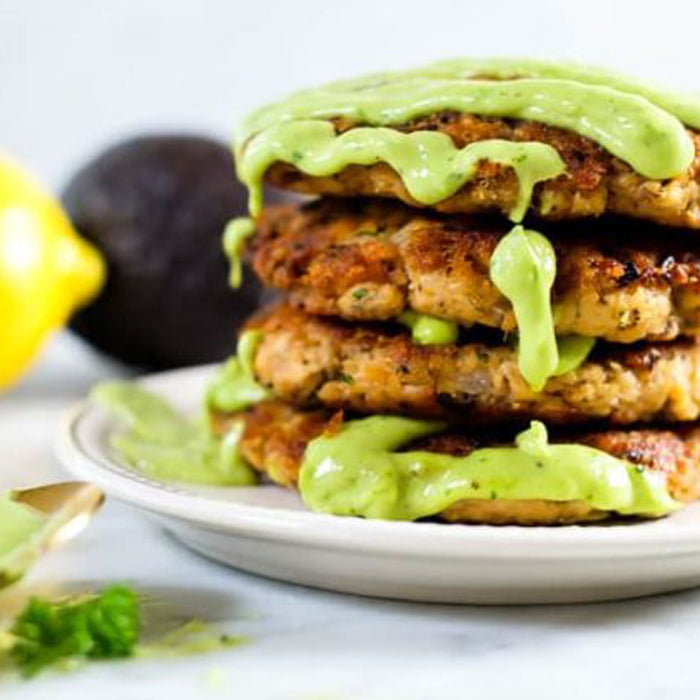Salmon Patties with magic Green Sauce