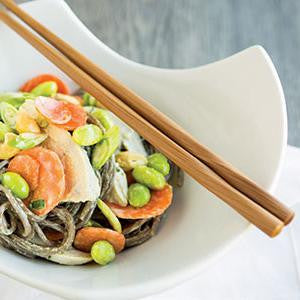 Soba Noodles with Chicken and Curry Cashew Sauce