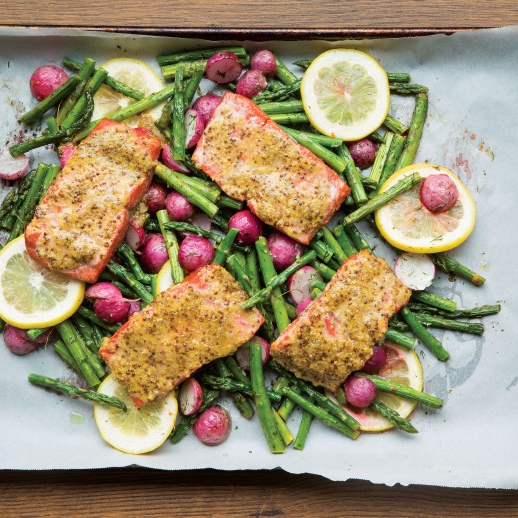 Mustard Crusted Salmon with Dill Radishes and Asparagus