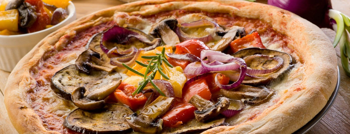 Eggplant Vegetable Pizza with Homemade Crust