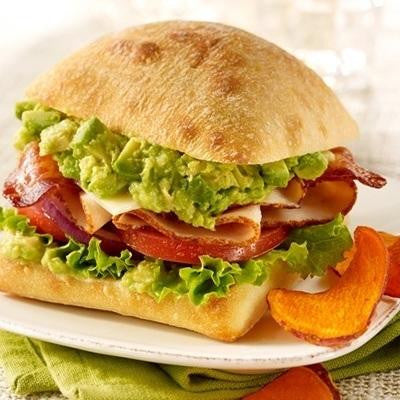 Smoked Turkey Sunrise Sandwich with Guacamole
