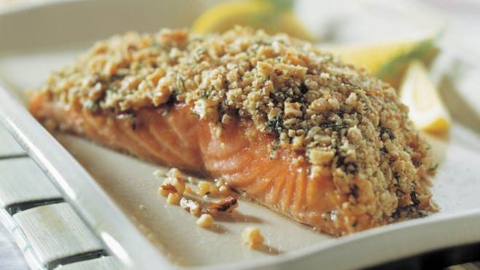 Walnut Crusted Salmon with Broccoli and Sweet Potatoes