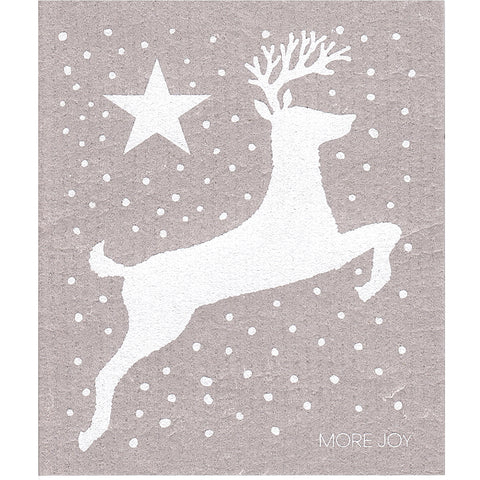 More Joy Dish Cloth Reindeer Grey