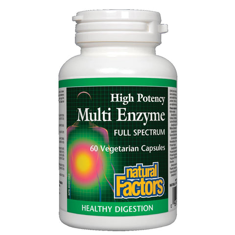 Natural Factors Multi Enzyme High Potency - Full Spectrum 60 Vegetarian Capsules