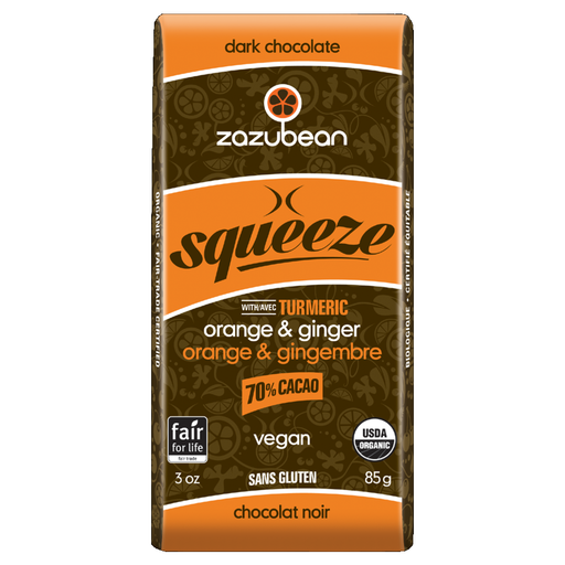 Zazubean Squeeze Chocolate Bar Orange Ginger