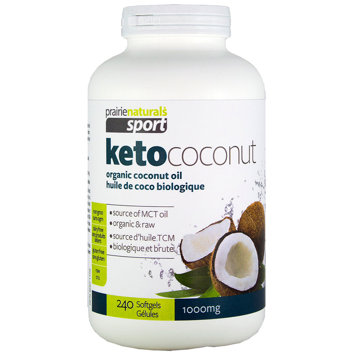 Prairie Naturals Sport KetoCoconut 100% Pure Coconut Oil 1000mg 240 softgels