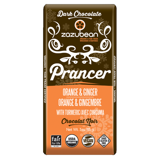 Zazubean Prancer Orange & Ginger Chocolate Bar