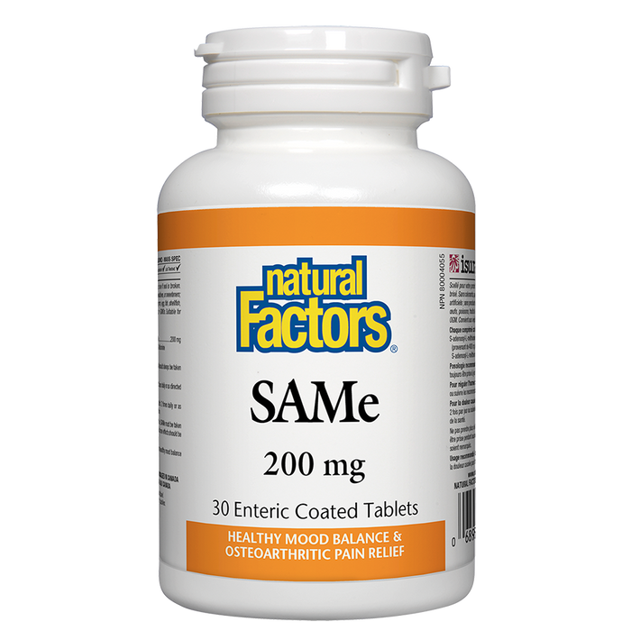 Natural Factors SAM E 200mg 30 enteric coated tablets