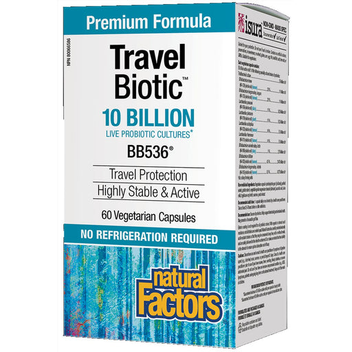 Natural Factors Probiotic Travel Biotic 10 billin Live Probiotic Cultures 60 vcaps