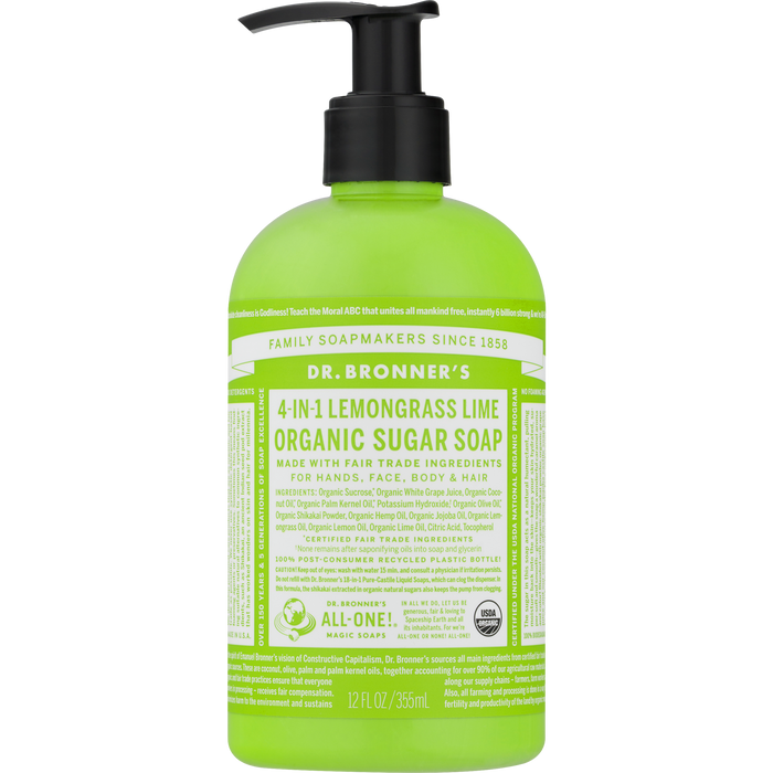 Dr. Bronner's Organic Lemongrass Lime Sugar Pump Soap 355ml