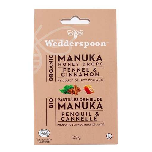 Wedderspoon Organic Honey Drops Fennel and Cinnamon 120g