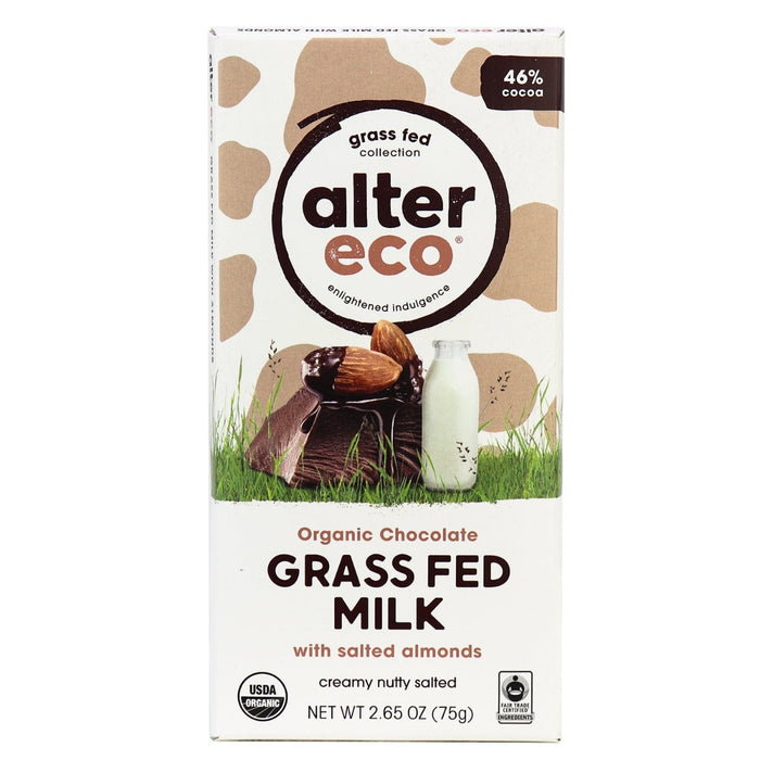 Alter Eco Grass Fed Milk Chocolate Salted Almond Bar 75g