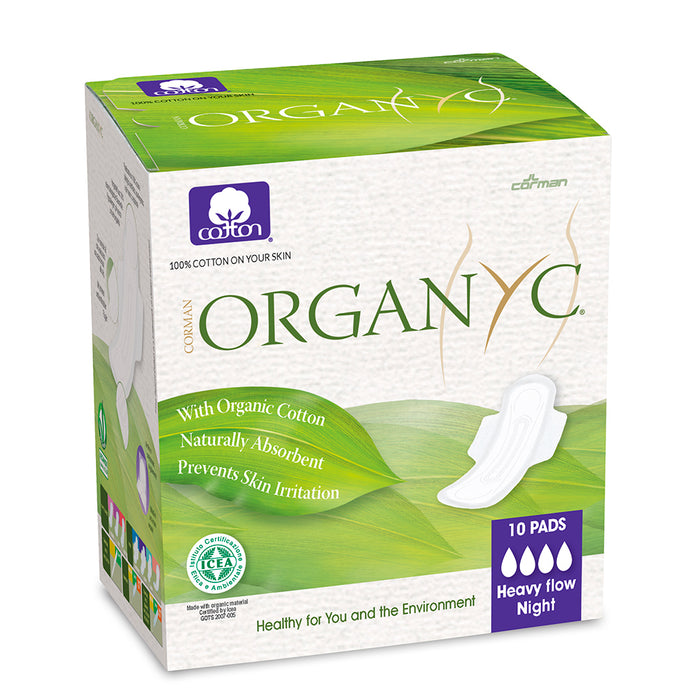 Organyc Feminine Pads Heavy Flow 10 Counts