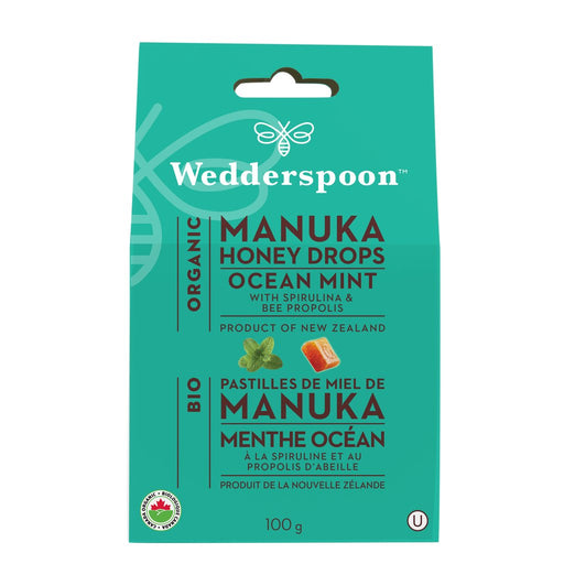 Wedderspoon Organic Honey Drops Ocean Mint 120g