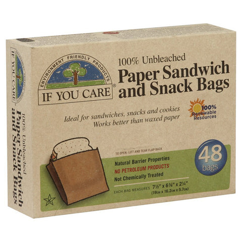 If You Care Paper Snack and Sandwhich Bags 48 sacs