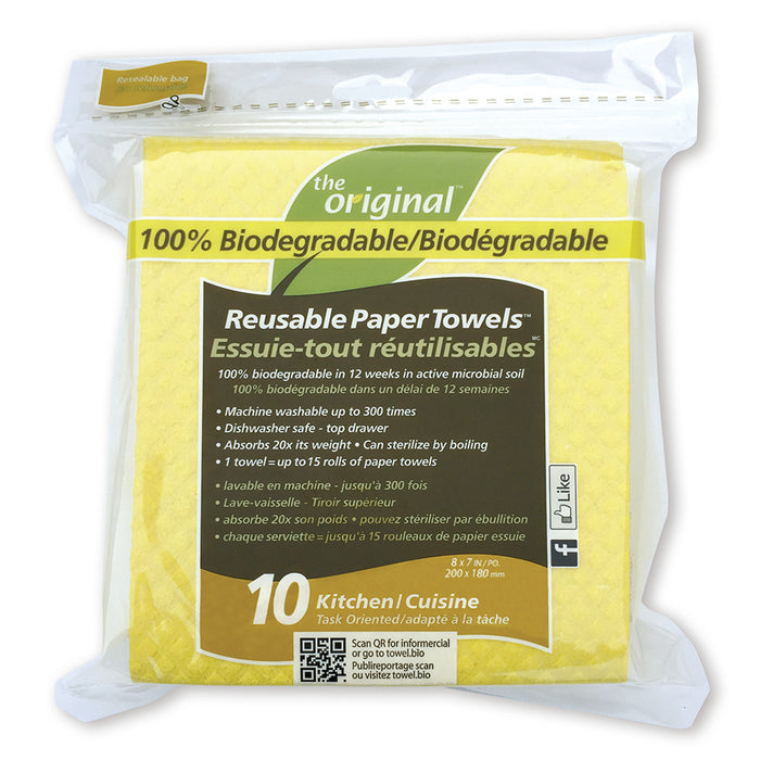 The Original Kitchen Biodegradable Reusable Paper Towels 10 pk