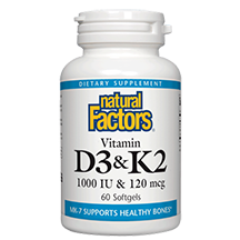 Vitamin K & D 60 Softgels: Natural Factors