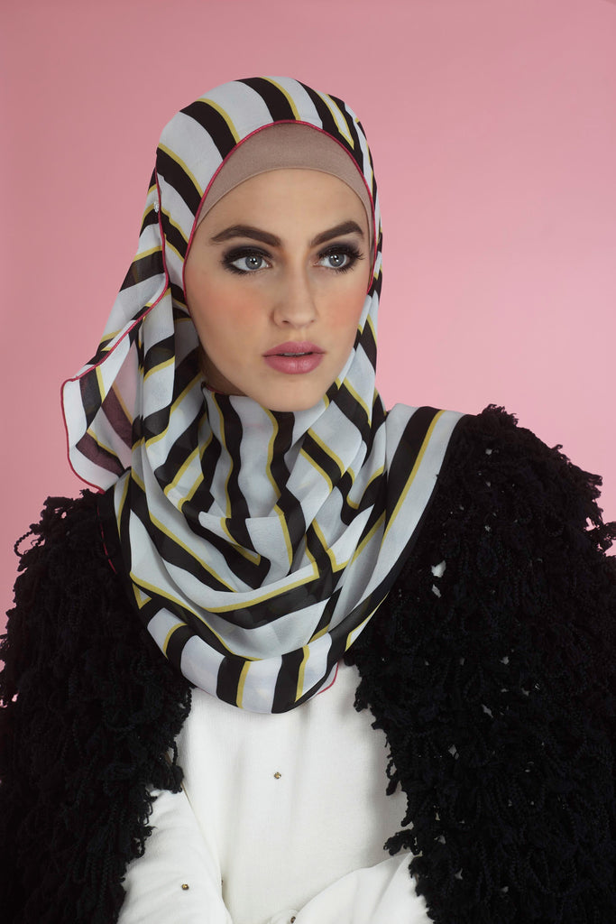 numero102 exclusive parisian Art Deco Chiffon Crepe Print Hijab Scarf modest fashion