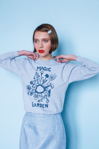Magic Garden sweater grey - Family Affairs