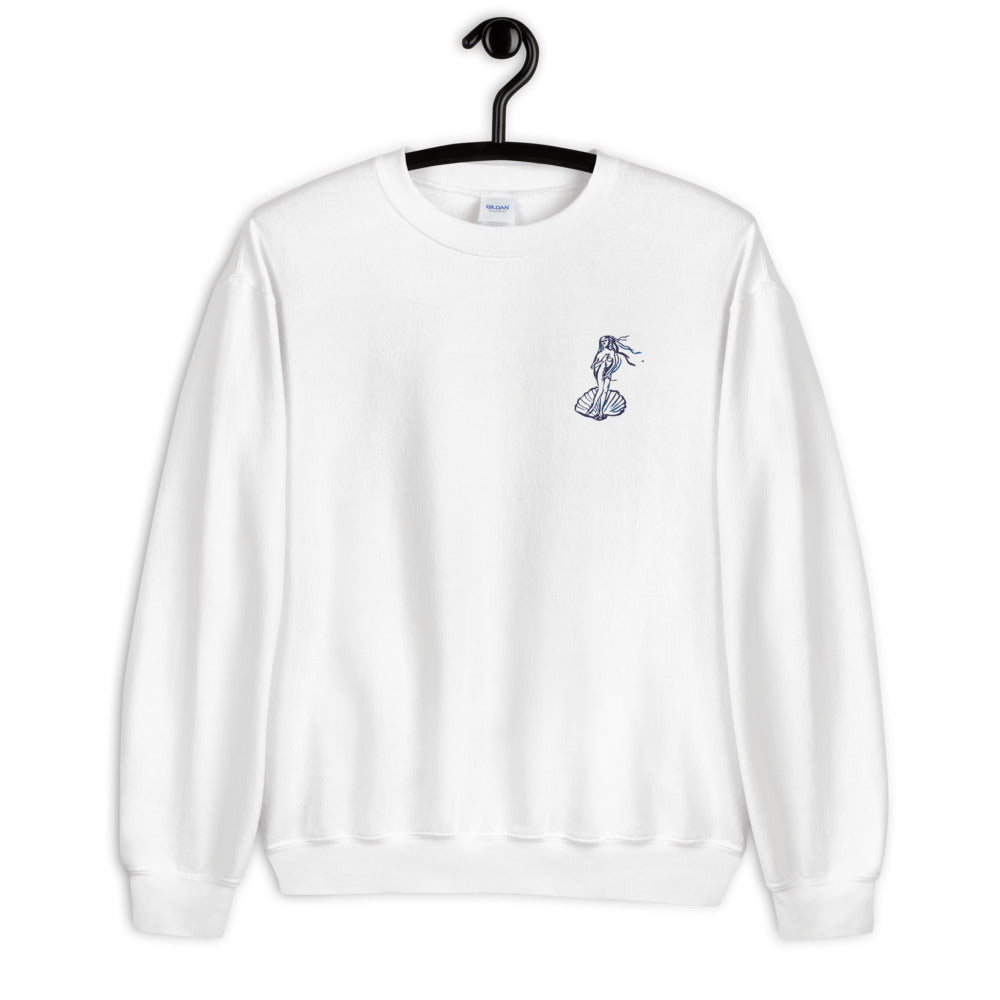Venus sweatshirt with embroidery- blue & white