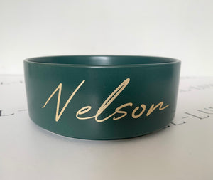 Green Ceramic Dog Bowl