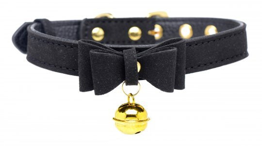 Golden Kitty Cat Bell Collar - Black/Gold
