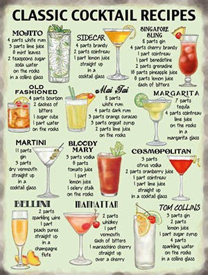 Classic Cocktails Recipes Large Sign