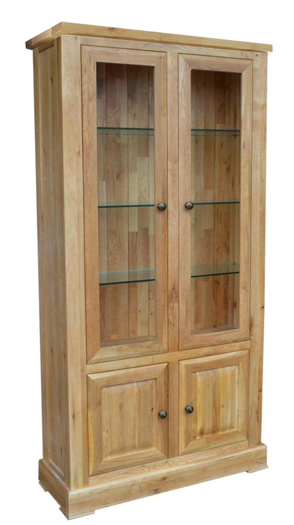 Bergerac Solid Oak Glazed Display Cabinet