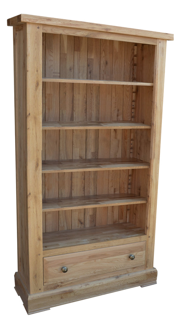 Bergerac Solid Oak Tall Wide Bookcase with Drawer