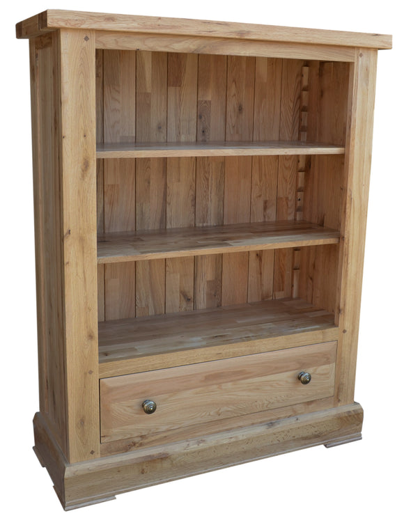 Bergerac Solid Oak Low Wide Bookcase with Drawer
