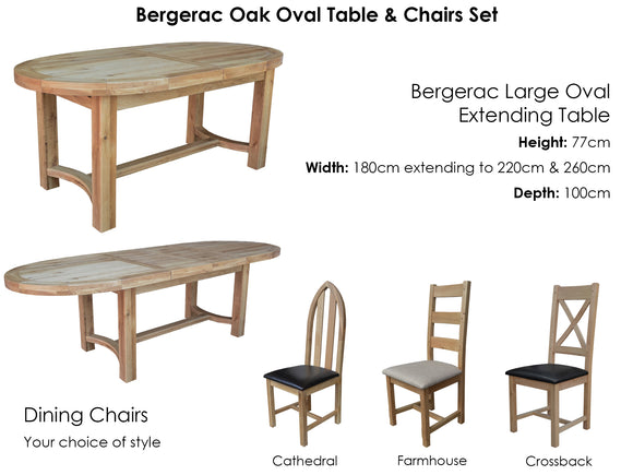 Bergerac Oval Extending Table & 8 Chairs Set