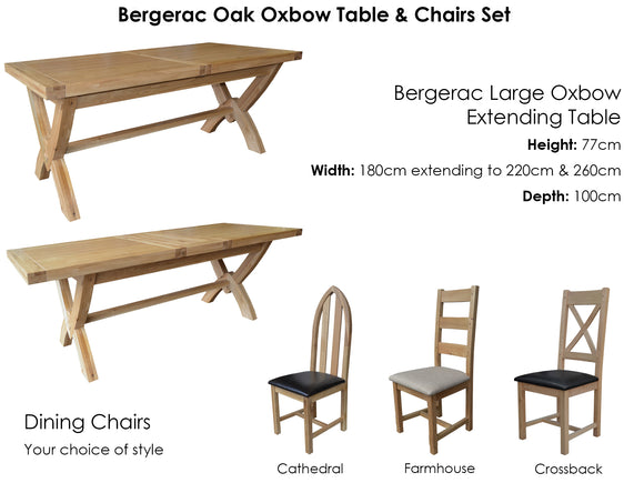 Bergerac Large Oxbow Table & 8 Chairs Set