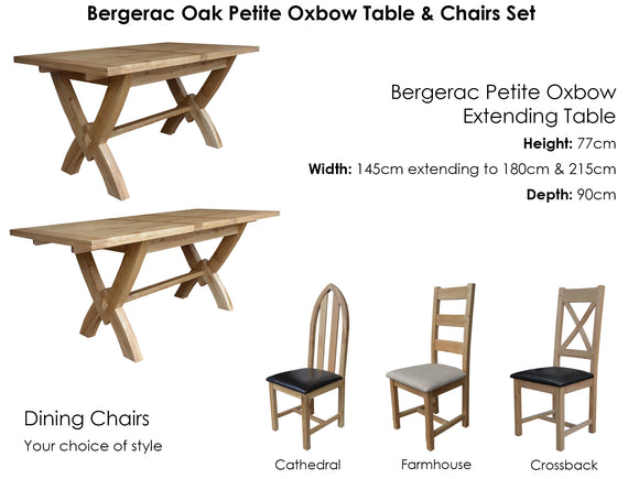 Bergerac Petite Oxbow Table & 6 Chairs Set