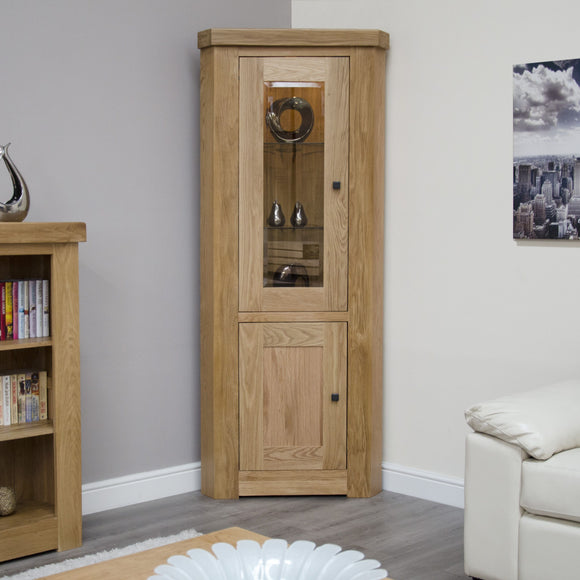 Lyon Solid Oak Corner Display Unit