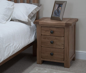 Country Rustic Oak 3 Drawer Bedside Cabinet