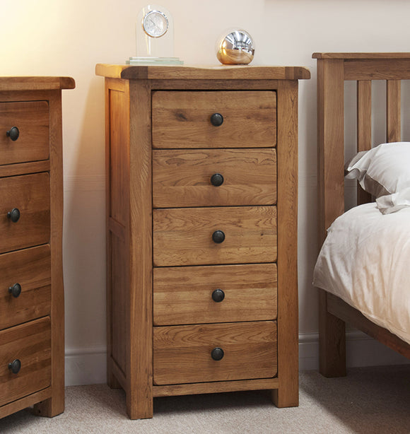 Country Rustic Oak 5 Drawer Narrow Chest