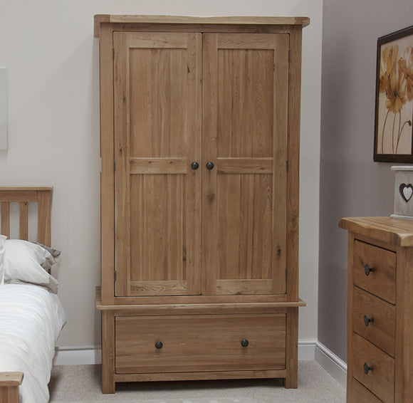 Country Rustic Oak 1 Drawer Wardrobe
