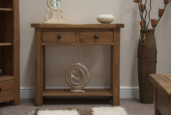 Country Rustic Oak Console Table