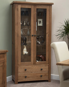 Country Rustic Oak Glass Display Cabinet