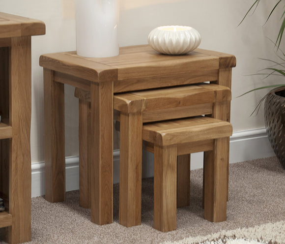 Country Rustic Oak Nest of Tables