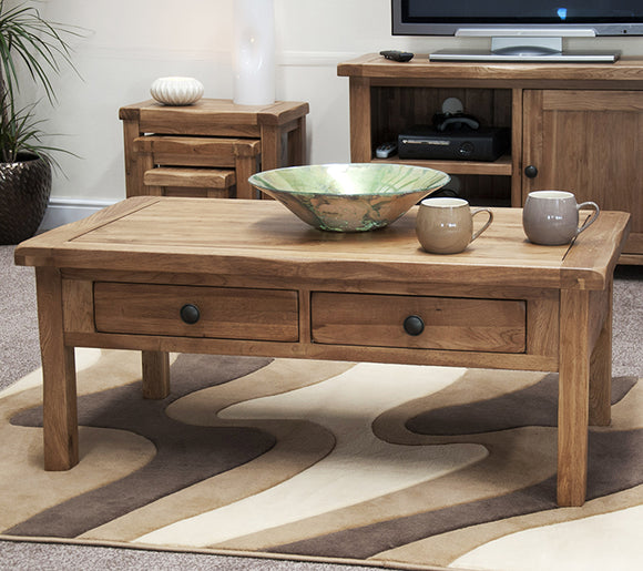 Country Rustic Oak Coffee Table