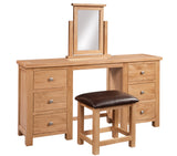 Chalton Oak Double Dressing Table & Stool Set