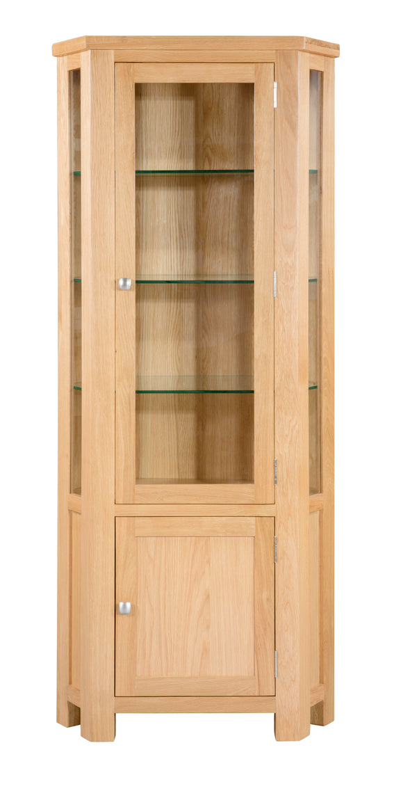 Chalton Oak Glazed Corner Display