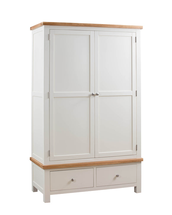 Chalton Painted & Oak 2 Drawer Wardrobe