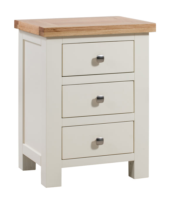 Chalton Painted & Oak 3 Drawer Bedside
