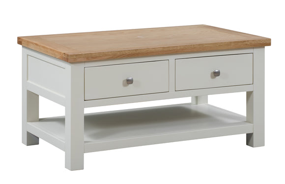Chalton Painted & Oak Coffee Table with 2 Drawers