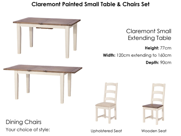 Claremont Small Extending Table and 4 Chairs Set
