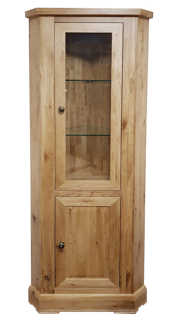 Bergerac Solid Oak Corner Glazed Display Cabinet